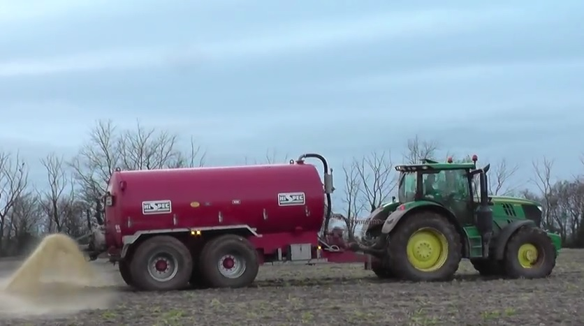Tractor With Tanker : Slurry spreading with a john deere r tractor hispec