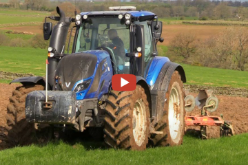 Ploughing with Valtra T214